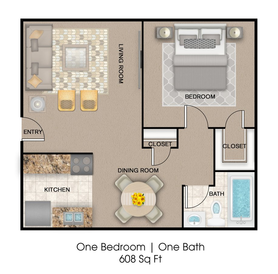 1 Bedroom 1 Bathroom Apartment for rent at Oakwood Place Apartment Homes in Dallas, TX