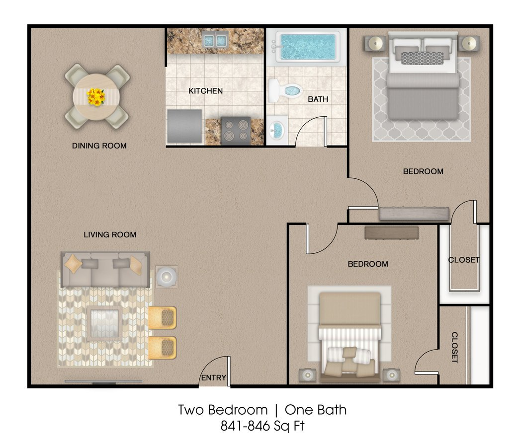 2 Bedrooms 1 Bathroom Apartment for rent at Oakwood Place Apartment Homes in Dallas, TX