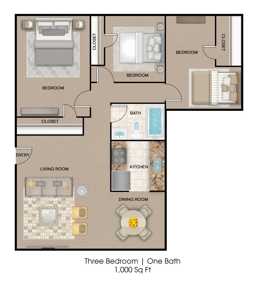 3 Bedrooms 1 Bathroom Apartment for rent at Oakwood Place Apartment Homes in Dallas, TX