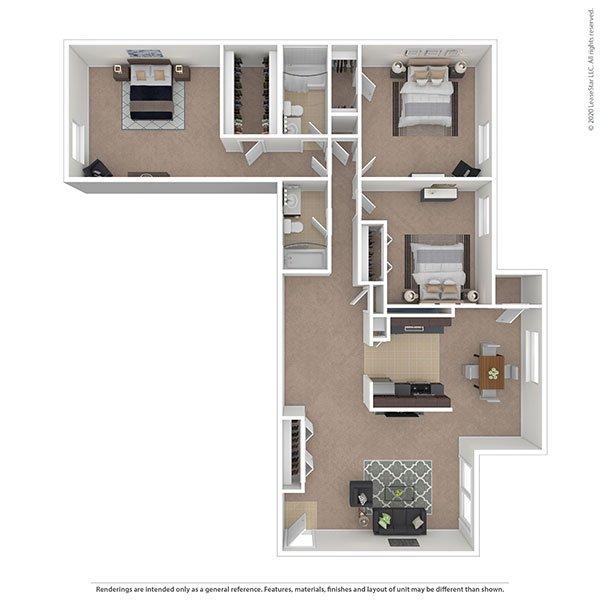 3 Bedrooms 2 Bathrooms Apartment for rent at Oakton Park Apartments in Fairfax, VA