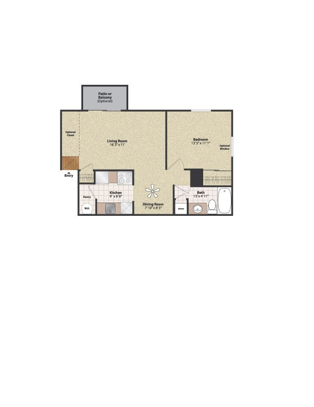 1 Bedroom 1 Bathroom Apartment for rent at Gettysburg Square in Fort Thomas, KY
