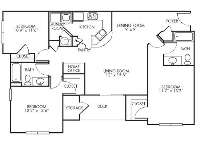 3 Bedrooms 2 Bathrooms Apartment for rent at Lakeshore Ridge Apartments in Birmingham, AL