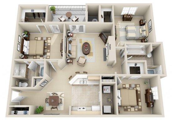 3 Bedrooms 2 Bathrooms Apartment for rent at Wildwood Crossings in Birmingham, AL