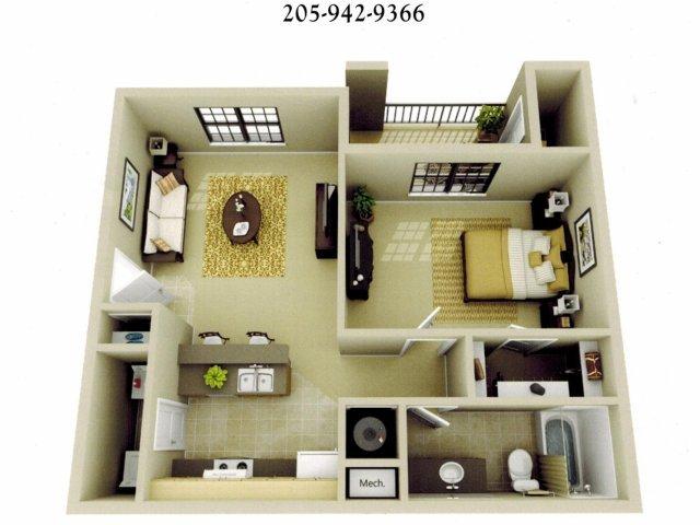 1 Bedroom 1 Bathroom Apartment for rent at The Oaks At Lakeshore in Birmingham, AL