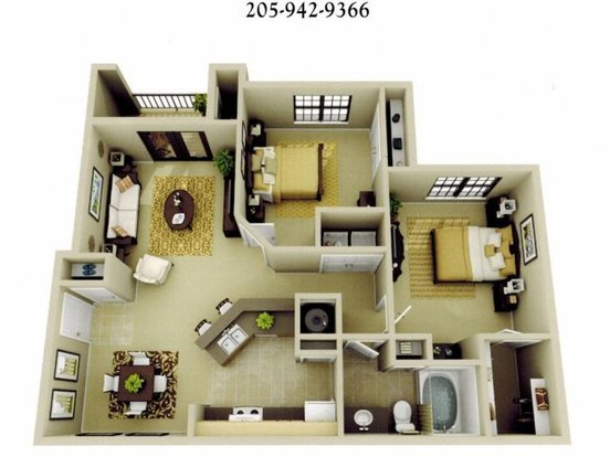 2 Bedrooms 1 Bathroom Apartment for rent at The Oaks At Lakeshore in Birmingham, AL