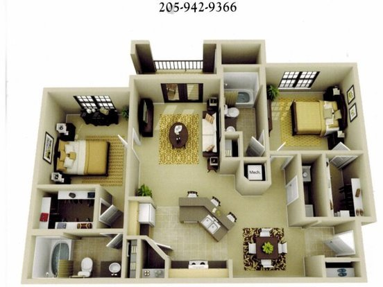 2 Bedrooms 2 Bathrooms Apartment for rent at The Oaks At Lakeshore in Birmingham, AL