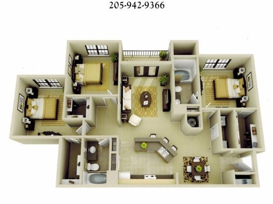 3 Bedrooms 2 Bathrooms Apartment for rent at The Oaks At Lakeshore in Birmingham, AL