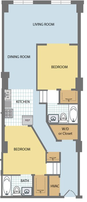 2 Bedrooms 2 Bathrooms Apartment for rent at Huron Square & The Osborn in Cleveland, OH