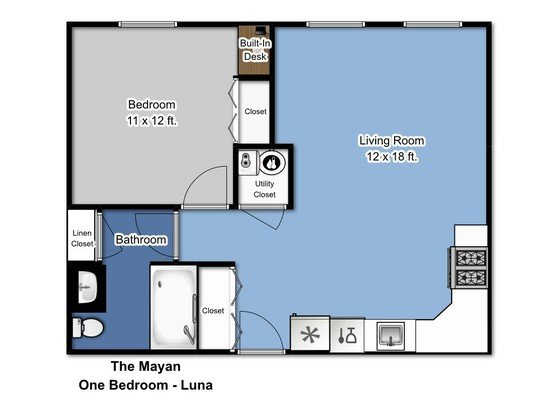 1 Bedroom 1 Bathroom Apartment for rent at The Mayan in Aurora, IL