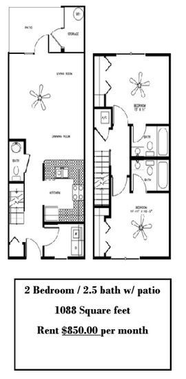 2 Bedrooms 3 Bathrooms Apartment for rent at Plaza Royale in Gainesville, FL