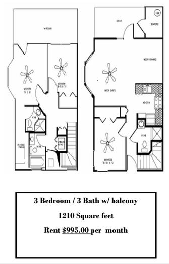 3 Bedrooms 3 Bathrooms Apartment for rent at Plaza Royale in Gainesville, FL