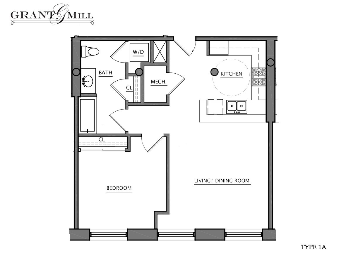 1 Bedroom 1 Bathroom Apartment for rent at Grant Mill in Providence, RI