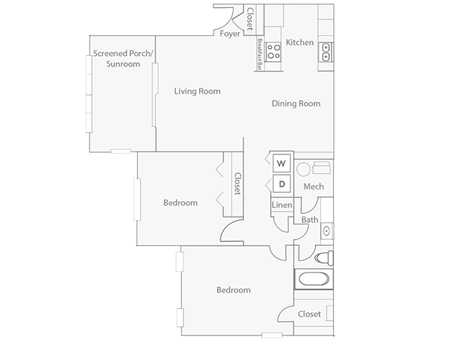 2 Bedrooms 1 Bathroom Apartment for rent at Barrington Mill in Marietta, GA