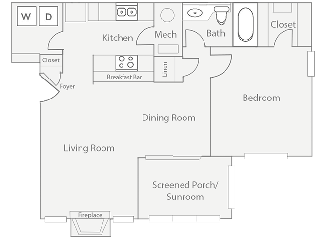 1 Bedroom 1 Bathroom Apartment for rent at Barrington Mill in Marietta, GA