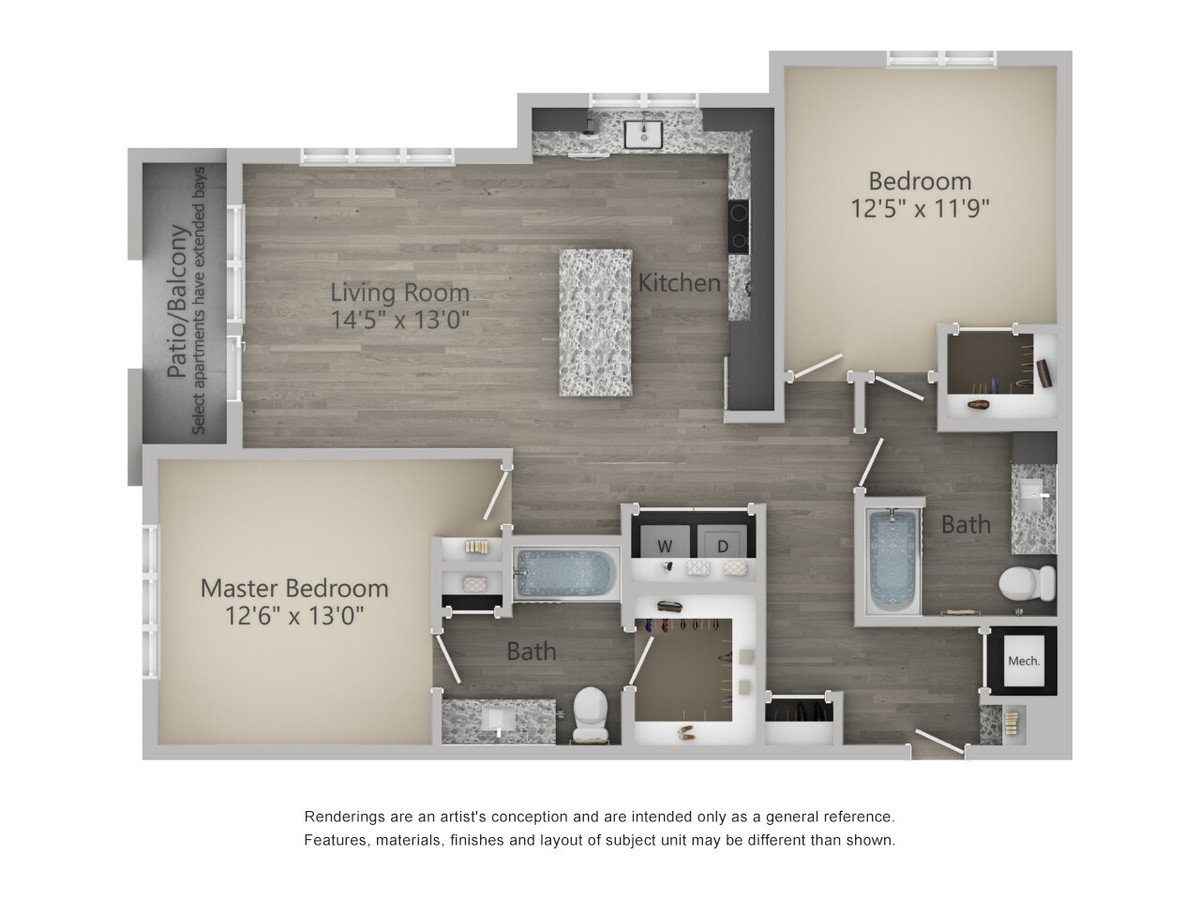 2 Bedrooms 2 Bathrooms Apartment for rent at Alta Warp + Weft in Charlotte, NC