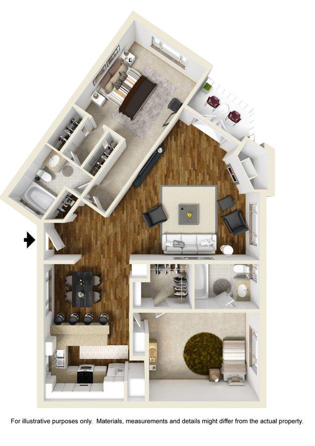 2 Bedrooms 2 Bathrooms Apartment for rent at Darlington Apartments in Los Angeles, CA