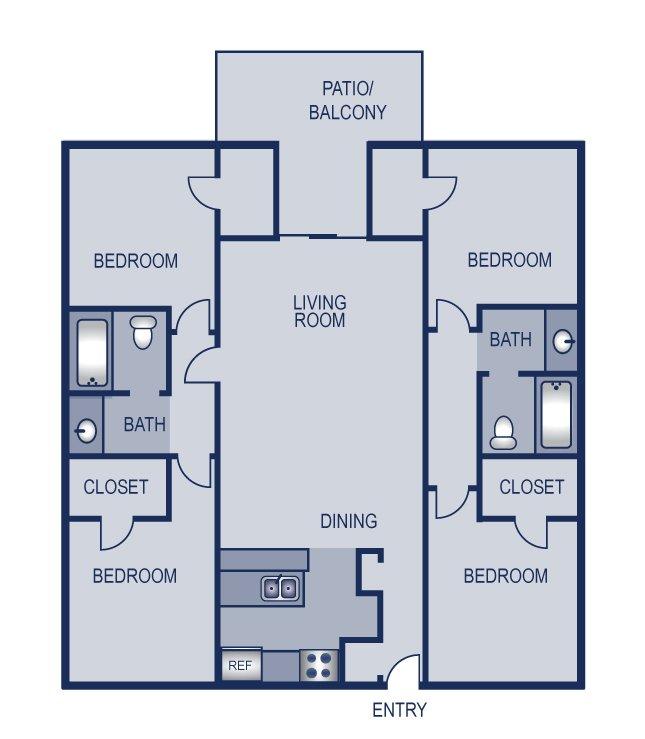 4 Bedrooms 2 Bathrooms Apartment for rent at Solaris in Austin, TX