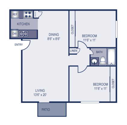 2 Bedrooms 1 Bathroom Apartment for rent at Elevation in Austin, TX