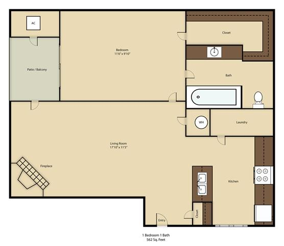1 Bedroom 1 Bathroom Apartment for rent at Balcones Club in Austin, TX