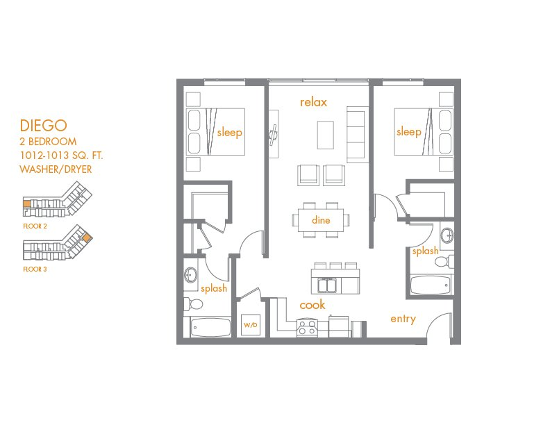 2 Bedrooms 2 Bathrooms Apartment for rent at Canvas Apartments in Seattle, WA