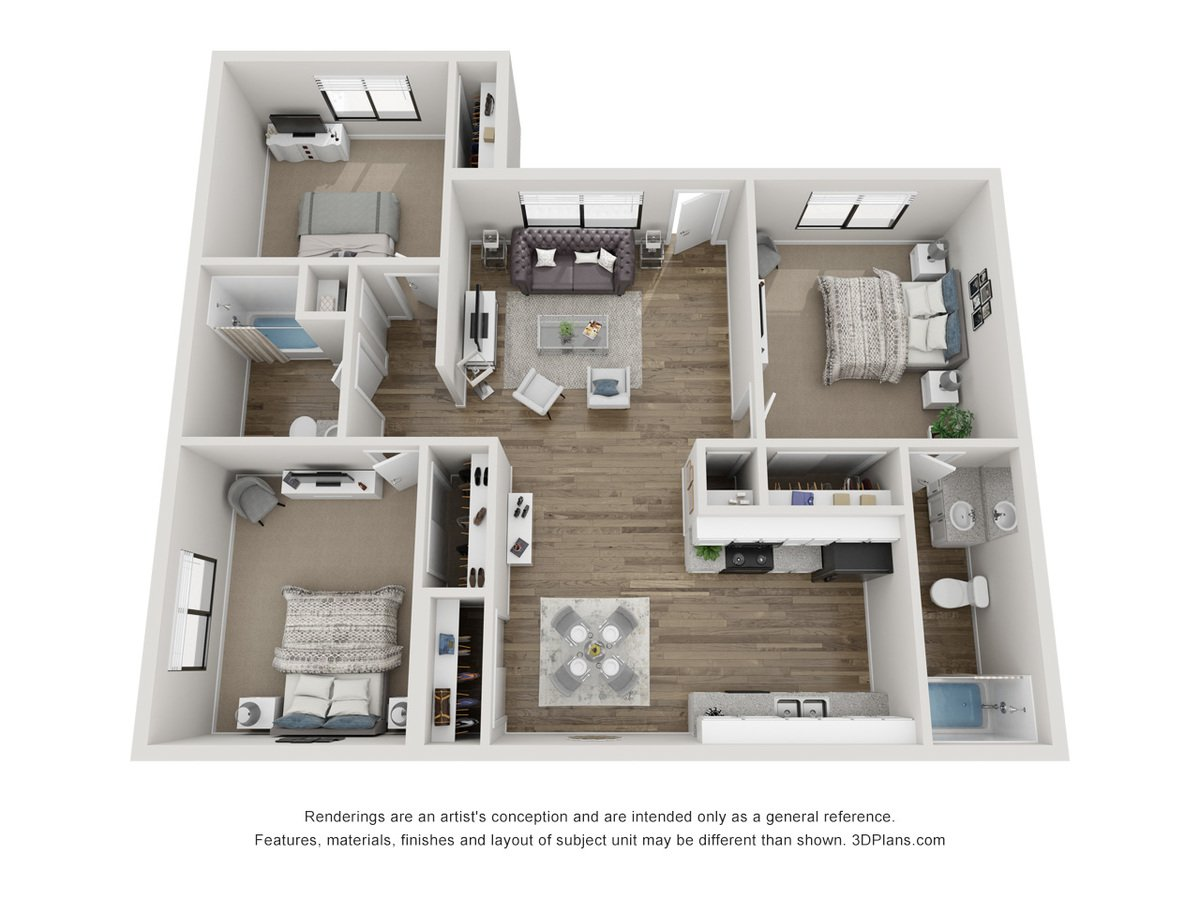 3 Bedrooms 2 Bathrooms Apartment for rent at The Milo in Las Vegas, NV