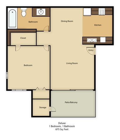 1 Bedroom 1 Bathroom Apartment for rent at Agave Court in Phoenix, AZ