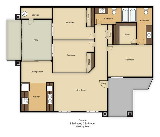 3 Bedrooms 2 Bathrooms Apartment for rent at Agave Court in Phoenix, AZ