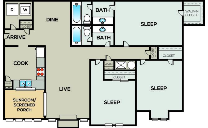 3 Bedrooms 2 Bathrooms Apartment for rent at Radius Sandy Springs in Atlanta, GA