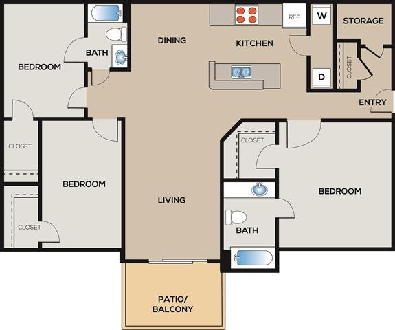 3 Bedrooms 2 Bathrooms Apartment for rent at Radius At West Ashley in Charleston, SC