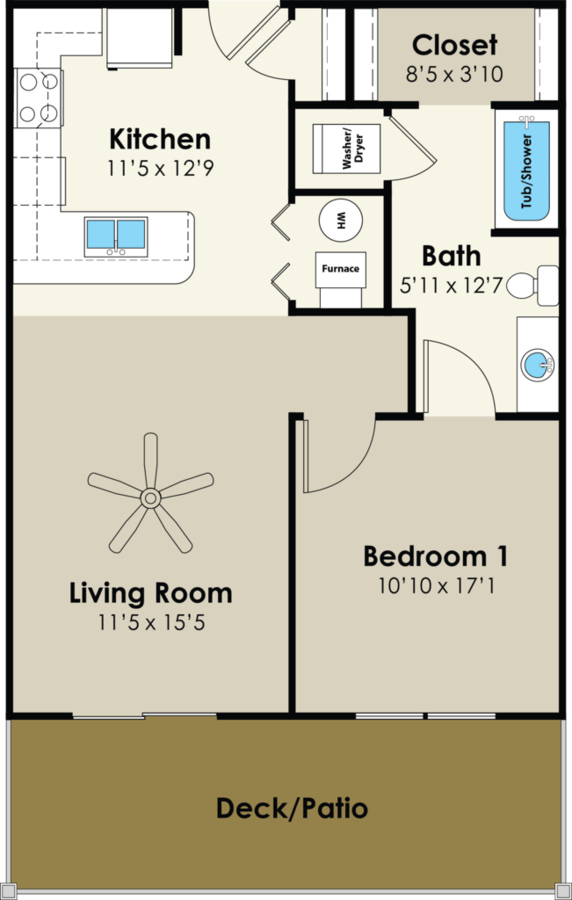 1 Bedroom 1 Bathroom Apartment for rent at Walnut Place in Ames, IA