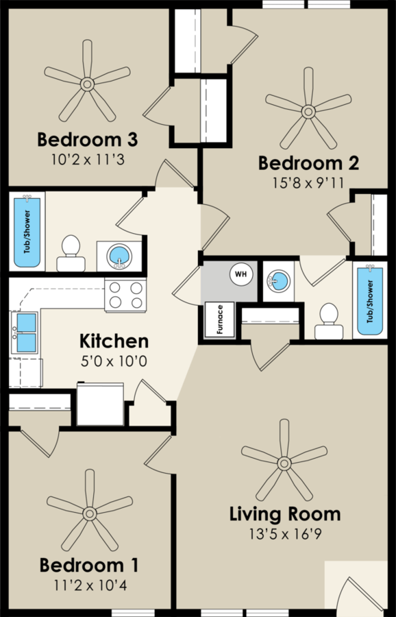 3 Bedrooms 2 Bathrooms Apartment for rent at Walnut Place in Ames, IA