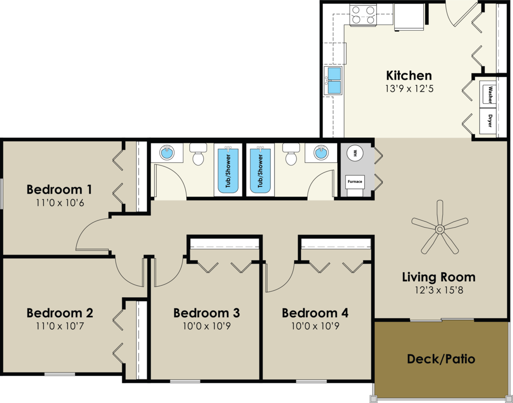 4 Bedrooms 2 Bathrooms Apartment for rent at Walnut Place in Ames, IA