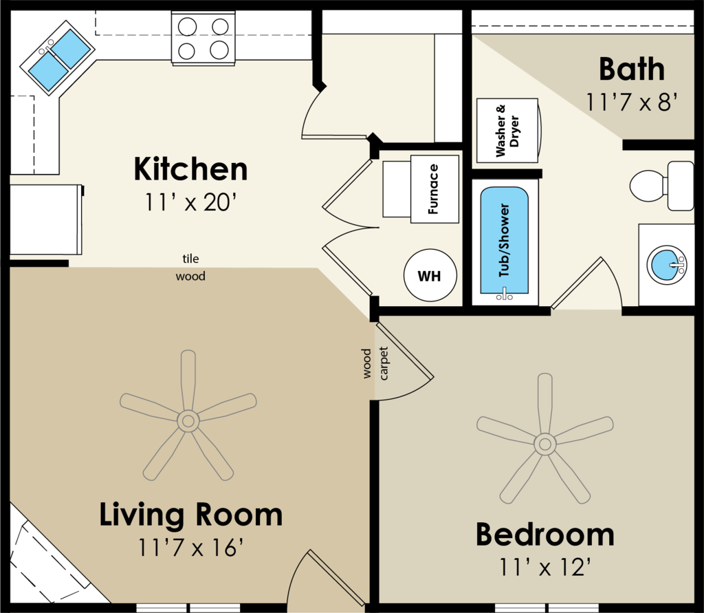 1 Bedroom 1 Bathroom Apartment for rent at Westwood Village in Ames, IA