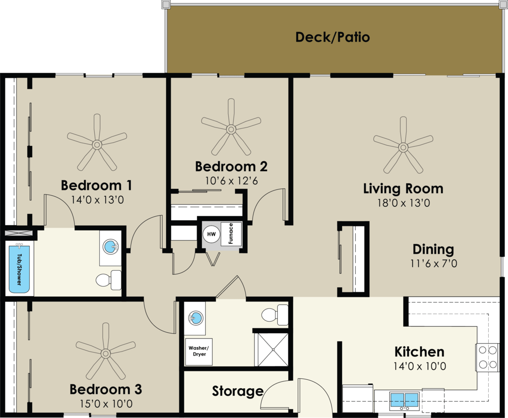 3 Bedrooms 2 Bathrooms Apartment for rent at Westwood Village in Ames, IA