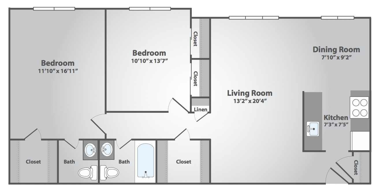 2 Bedrooms 1 Bathroom Apartment for rent at Coventry Square in Westwood, NJ