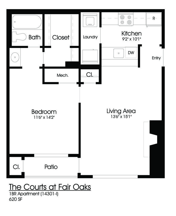 1 Bedroom 1 Bathroom Apartment for rent at The Courts At Fair Oaks in Fairfax, VA