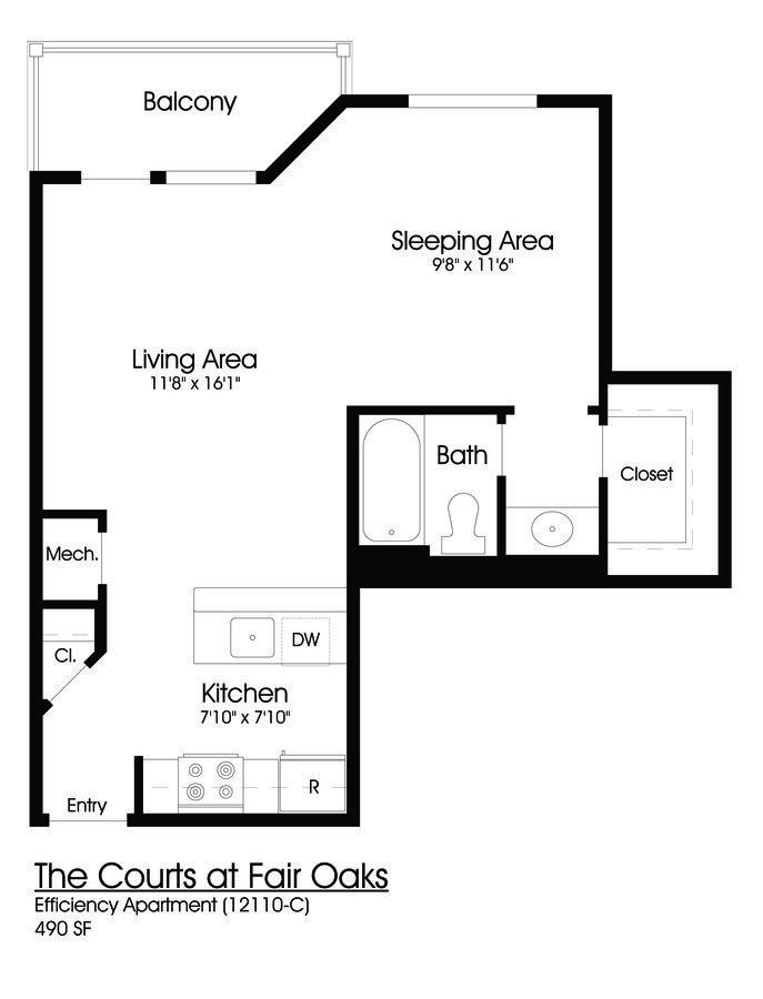 Studio 1 Bathroom Apartment for rent at The Courts At Fair Oaks in Fairfax, VA