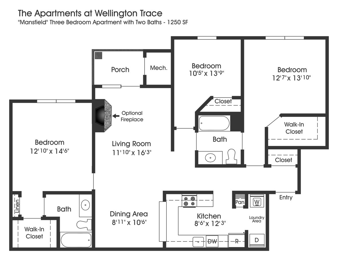 3 Bedrooms 2 Bathrooms Apartment for rent at The Apartments At Wellington Trace in Frederick, MD