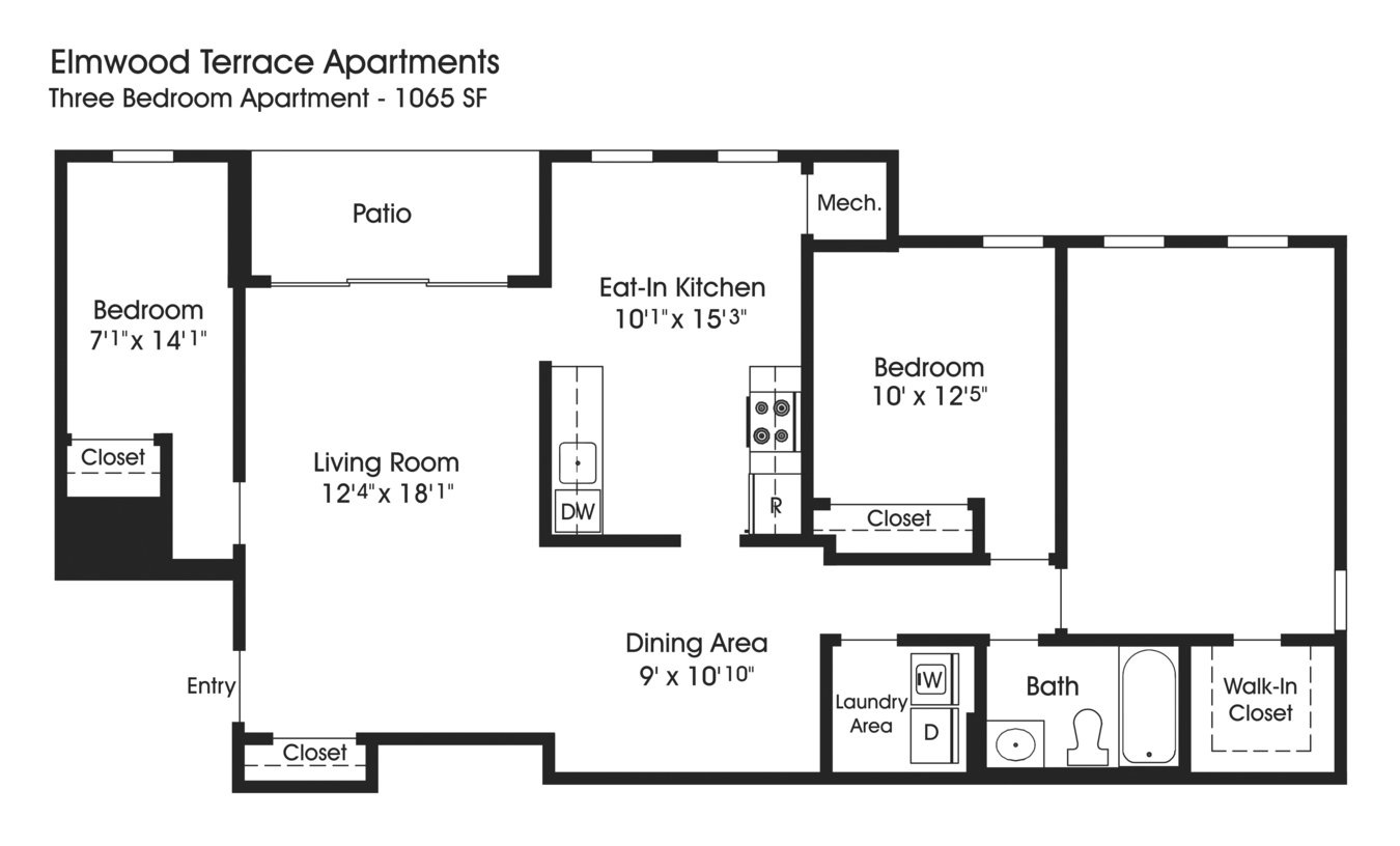 3 Bedrooms 1 Bathroom Apartment for rent at The Apartments At Elmwood Terrace in Frederick, MD