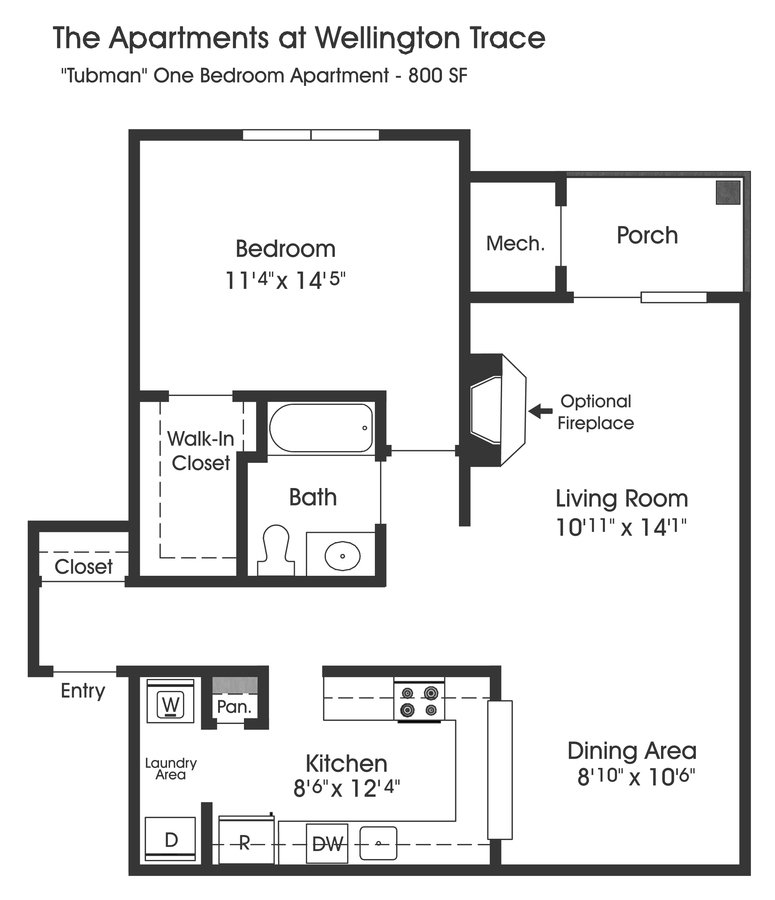 1 Bedroom 1 Bathroom Apartment for rent at The Apartments At Wellington Trace in Frederick, MD