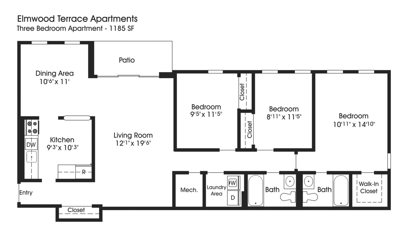 3 Bedrooms 2 Bathrooms Apartment for rent at The Apartments At Elmwood Terrace in Frederick, MD
