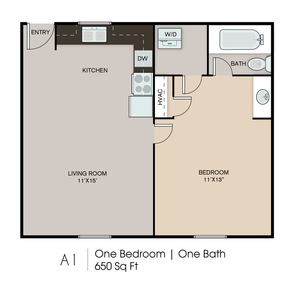 1 Bedroom 1 Bathroom Apartment for rent at Northshore Village in Chattanooga, TN
