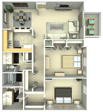 2 Bedrooms 2 Bathrooms Apartment for rent at The Park at Leeds in College Park, GA