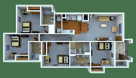 4 Bedrooms 4+ Bathrooms Apartment for rent at Samford Square in Auburn, AL