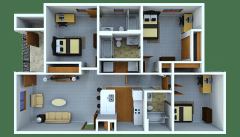 3 Bedrooms 3 Bathrooms Apartment for rent at Samford Square in Auburn, AL