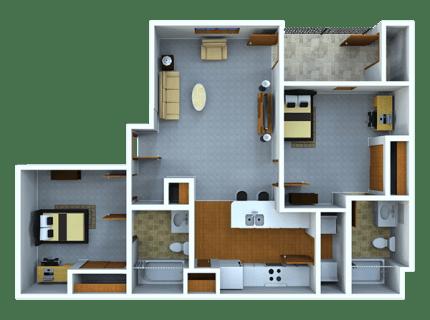 2 Bedrooms 2 Bathrooms Apartment for rent at Samford Square in Auburn, AL