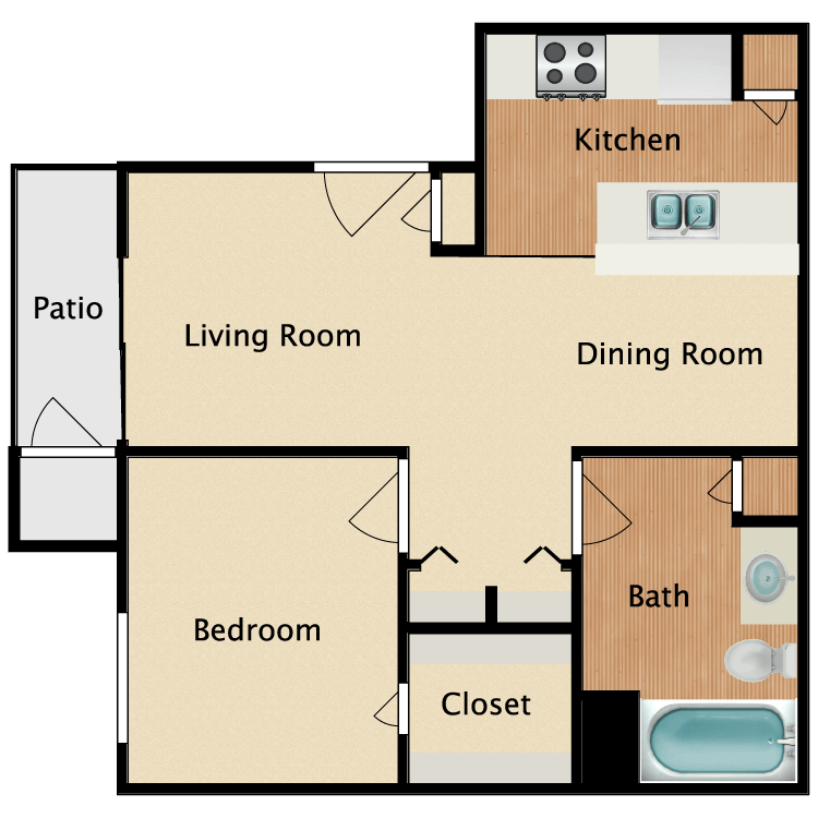 1 Bedroom 1 Bathroom Apartment for rent at Normandy Woods Apartments in Houston, TX