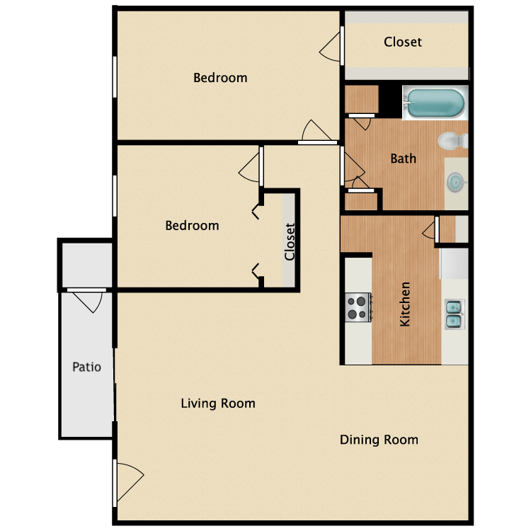 2 Bedrooms 1 Bathroom Apartment for rent at Normandy Woods Apartments in Houston, TX