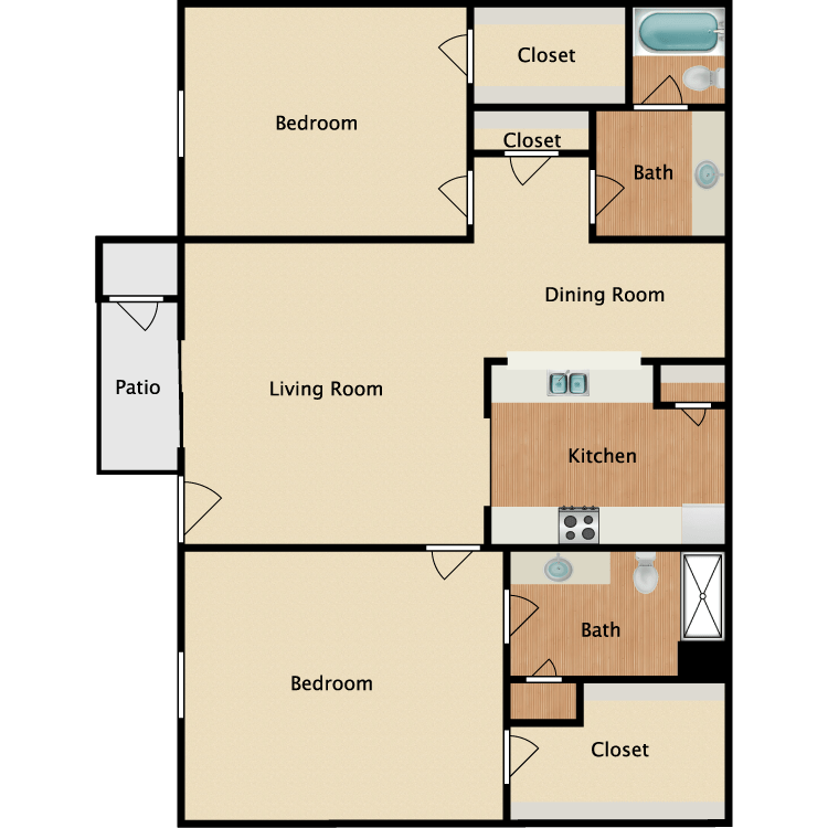 2 Bedrooms 2 Bathrooms Apartment for rent at Normandy Woods Apartments in Houston, TX