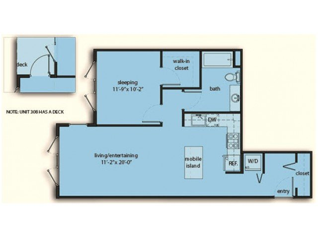 1 Bedroom 1 Bathroom Apartment for rent at The Noble Apartments in Seattle, WA